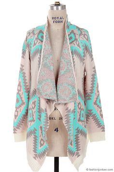 Thick Geometric Tribal Aztec Print Open Front Cardigan Jacket-Mint, Ivory & Grey