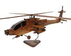 AH-64 AH-64D Apache Army Aviation Attack Helicopter Gunship Wood Wooden Mahogany Model Gift