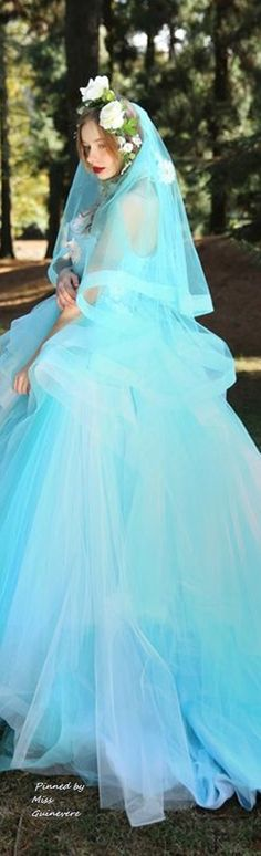"""Tiglily Spring 2016 Wedding Dresses — """"Collection of Pandora"""" Bridal Collection Another color to consider, Something blue."""