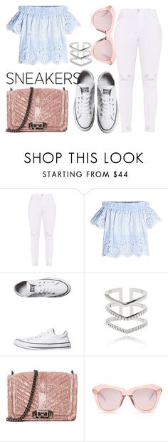 """""""White Sneakers"""" by aconrad36 ❤ liked on Polyvore featuring Sea, New York, Converse, Astrid & Miyu, Rebecca Minkoff and Karen Walker"""
