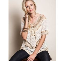Cream Boho top - reserved Cream Boho top - reserved  size L Tops