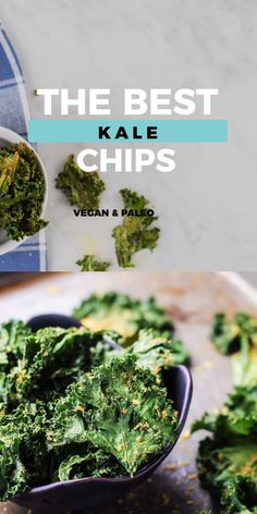 The Best Kale Chips [vegan, paleo] - KALE CHIPS. Get excited. These ones are seriously the best! So flavorful and crispy. Vegan, Paleo a - Chips Kale, Making Kale Chips, Baked Kale Chips, Spinach Chips, Kale Crisps, Chips Chips, Kale Chip Recipes, Paleo Recipes, Whole Food Recipes