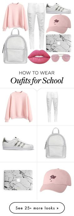 School Day by susanna-trad on Polyvore featuring Current/Elliott, adidas Originals, New Look, Lime Crime and Boohoo ,Adidas shoes #adidas #shoes