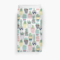 """Cute Cacti in Pots"" Duvet Covers by Tangerine-Tane 