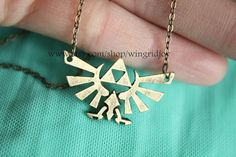 golden The Legend of Zelda jewelry Triforce necklace by wingridjoy, $3.60
