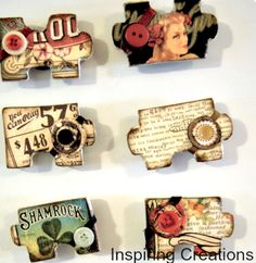 Make vintage magnets from old puzzle pieces at Inspiring Creations, featured @totgreencrafts