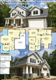 Architectural Designs Craftsman House Plan 69525AM comes to life in Michigan! Lots of photos inside, too! This home gives you 3 beds, 2.5 baths and over 2,900 sq. ft. of heated living space. Ready when you are. Where do YOU want to build? #69525am #adhouseplans #architecturaldesigns #houseplan #architecture #newhome #newconstruction #newhouse #homedesign #dreamhome #dreamhouse #homeplan #architecture #architect #craftsmanhouse #craftsmanplan #craftsmanhome