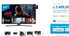 "Smart TV LED 60"" Samsung 4K/Ultra HD 60KU6000 Conversor Digital Wi-Fi 3 HDMI 2 USB << R$ 494910 >>"