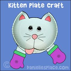 Three Little Kittens Paper Plate Craft from www.daniellesplace.com - copyright 2007