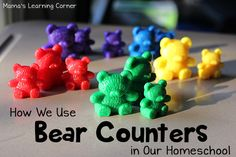 Have fun with bear counters! Here's a long list of several ideas to enjoy bear counters with your young learner. Preschool At Home, Preschool Curriculum, Preschool Lessons, Homeschool Math, Kindergarten Math, Preschool Ideas, Fun Learning, Learning Activities, Math Counters