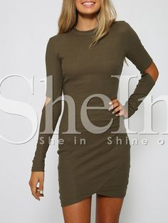 $12 Shop Army Green Long Sleeve Cut Out Bodycon Dress online. SheIn offers Army Green Long Sleeve Cut Out Bodycon Dress & more to fit your fashionable needs.