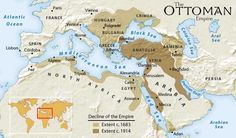 This is an image of the Ottoman Empire before it fell. This relates to the Middle East because the empire was spread throughout the Middle East affected the Middle East a lot because of it fall. The Middle, Middle East, Ap World History, Black History, American History, Native American, Cairo Egypt, Old Maps, Historical Maps