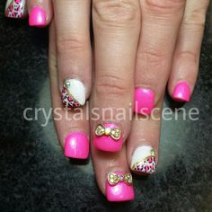 #acrylicnails #acrylic #acrylicnaildesigns #pink #pinknails #pinknaildesigns #leopardprint #cheetahprint #bows #bowcharms #3dnailart #rhinestones #bling #gems #springmanicure #springmani #summernails #cutenails #cutenailart #nails #naildesigns #nailart #handpainted by Crystal