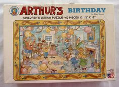 Vintage Complete Arthur's Birthday Jigsaw Puzzle - 60 pieces - Age 5 and up - Made in USA Jigsaw Puzzles, Vintage World Maps, Usa, Children, Birthday, Unique Jewelry, Handmade Gifts, How To Make, Young Children