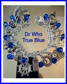 Dr Who Fandom  Charm Bracelet Tribute True Blue geekery Style Jewelry by Uberjewelrydesigns on Etsy