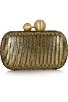 Metallic brushed-leather box clutch