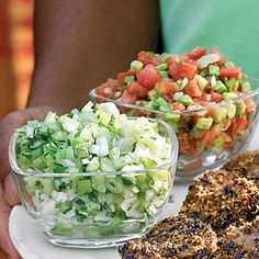 Pico de Gallo.   2 medium tomatoes, seeded and diced  1 medium-size ripe avocado, diced  1/4 cup diced white onion 1 serrano or jalapeño pepper, seeded and finely chopped 2 tablespoons lime juice  1 tablespoon extra virgin olive oil  Salt to taste