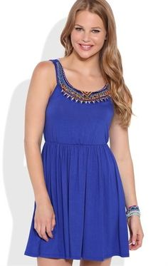 Deb Shops A-Line Dress with Beaded Embroidered Neckline $30.00