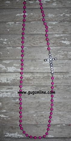 Long Pink Beaded Necklace with Side Cross $12.95 www.gugonline.com