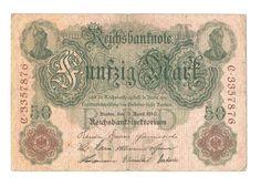 Reichsbanknote vom 21.04.1910 über 50 Mark, Reichsmark, Deutschland   eBay Ebay, Paper, Money, Germany