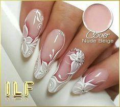 4 Beautiful Easy Nail Designs - Nail Art - A Fashion Star Bride Nails, Wedding Nails, Nail Manicure, My Nails, Nail Art Strass, Gel Nails French, French Toes, Nagellack Design, Bridal Nail Art