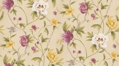 Flowering Tree (TRA05005) - Zoffany Wallpapers - An exquisitely painted botanical peony trail.  Available in 6 colourways, shown in the mulberry/olive which is drawn with a green trail and mulberry pink and yellow flowers on a neutral base. Please ask for sample for true colour match.