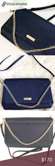 """NWT 🔴SALE🔴KATE SPADE Offshore Greer Bag NWT KATE SPADE Offshore Greer Bag Deep color BLUE Crossbody Shoulder bag. Gold chain and long strap drop 20"""" on the 3rd hole 10.5""""-11"""" long 6-7"""" high 5"""" strap drop chain Crossbody Shoulder  Zip pocket 1 smaller pocket  Adjustable strap 2"""" wide. $225 kate spade Bags"""
