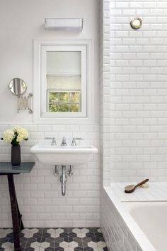 Love this bathroom floor and these subway tiles!