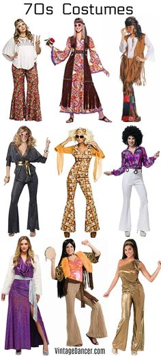b422e4e07f 70s costumes Women's hippie disco Halloween party ideas at  VintageDancer.com 70s Costume, Hippie