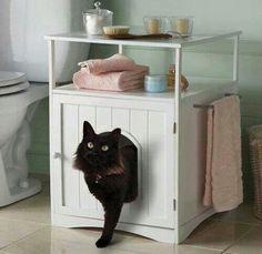 Cat litter box hideaway: I wish I had a big enough bathroom for this, love it! <3