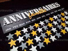 Calendrier anniversaire personnalisable perpétuel avec étoiles