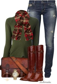 Love the touch of line in the plaid scarf.