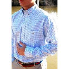 Cotton Brothers Turquoise Tattersall  www.lowcountryclothier.com