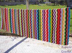 --  Crochet: Manta ganchillo zig-zag