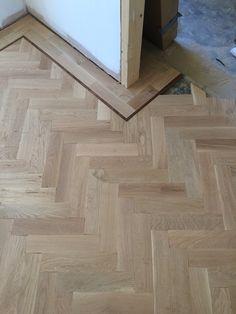 Oak herringbone in progress. Wood Floor Stain Colors, Wood Look Tile Floor, Herringbone Tile Floors, Wood Floor Design, Hall Flooring, Parquet Flooring, Wooden Flooring, Hardwood Floors, Patio Design