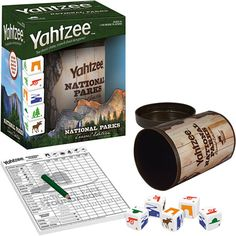 Yahtzee National Parks Travel Edition - Travel-sized dice cup holds everything for this version of the classic Yahtzee on-the-go game.
