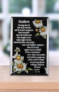 Spiegel voor je ouders met een mooie bedank tekst. Handgeschilderd. 10 x 15 cm. (de spiegel is hier afgebeeld in zwart, maar het is een echt spiegeltje om in te kijken)