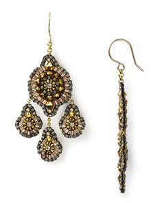 miguel ases | Miguel Ases Beaded Gold Filled Dangle Earrings