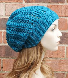 Womens Slouchy Hat - Turquoise Teal Slouchy Beanie - Crochet Slouchy Hat - Ribbed Beanie Hat - Winter Accessories // THE HARPER//