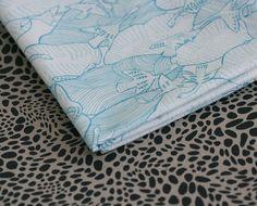 Herd of Swans Fabric Half Yard  Sky Blue on por LilaRubyKingShop