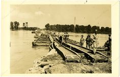 Building of a Pontoon Bridge during the 1943 Fort Smith flood. Arkansas History Commission G5036.1