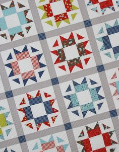 A fat quarter friendly quilt that includes measurements and instructions for creating four different sizes of quilts (crib, throw, twin, queen). See image of pattern cover to see yardage requirements. Finished quilt sizes (all sizes included in this one pattern) Crib: 44 x 58 Throw: 58