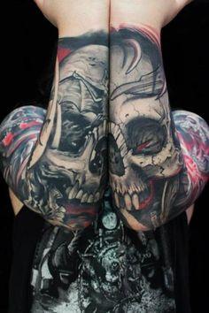 Skull on Arms Tattoos