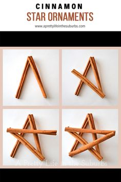 DIY Cinnamon Star Ornaments- These smell so good! Finally a use for the pound of sticks I just got :) Christmas Ornament Crafts, Noel Christmas, Star Ornament, Homemade Christmas, Rustic Christmas, Christmas Projects, Holiday Crafts, Christmas Decorations, Christmas Centrepieces