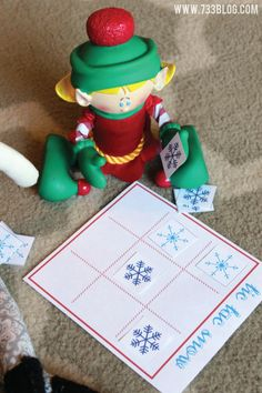 Elf on the Shelf Tic Tac Snow Game Free Printable from @733blog