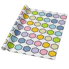 #pink - #Black Outlined Pastel Rainbow Hexagons Wrapping Paper