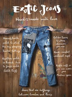 These jeans include: golden details, ripped details, houndstooth print, lace patches