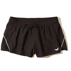 Hollister Nylon Running Shorts ($25) ❤ liked on Polyvore featuring activewear, activewear shorts, shorts and black