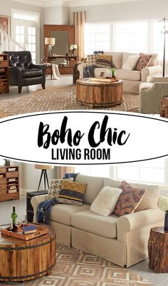 Boho Chic Living Room designed by blogger Kelly Rowe, of Live Laugh Rowe, for the annual La-Z-Boy Design Dash. With a rustic feel, it's still beautiful, warm and inviting! Learn more about this space and event at http://livelaughrowe.com