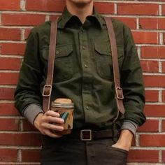 Casual Pure Color Lapel Flap Pocket Jacket,Jackets Leather Men, Brown Leather, Mens Leather Suspenders, Leather Jackets, Suspenders Outfit, Farm Clothes, Rugged Men, Fashion Night, Fashion Ideas